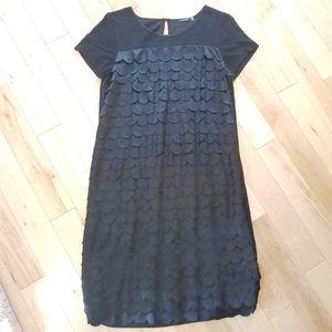 Magaschoni black scalloped ruffle dress medium